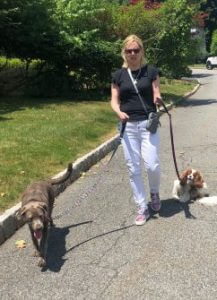 Laura Schreiber Walking Two Dogs