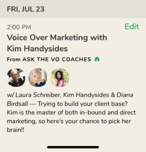 Clubhouse with Laura Schreiber, Diana Birdsall, and Kim Handysides