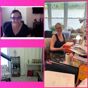 Collage of Laura Schreiber's studio, Michelle Blenker's, and Diana Bidsall's